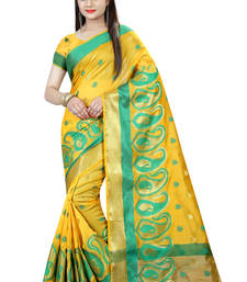 Buy Yellow plain cotton silk saree with blouse cotton-silk-saree online