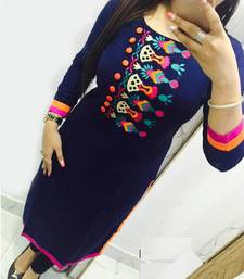 Buy Blue cotton embroidered kurti party-wear-kurti online