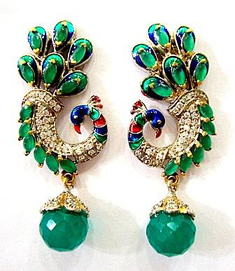 BEAUTIFUL STONE STUDDED PEACOCK  DESIGN HANGINGS IN VICTORIAN STYLE