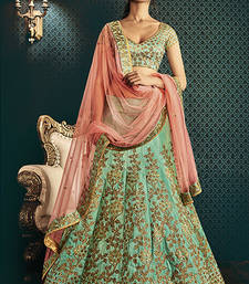 Buy green embroidered art silk unstitched ghagra-choli ghagra-choli online