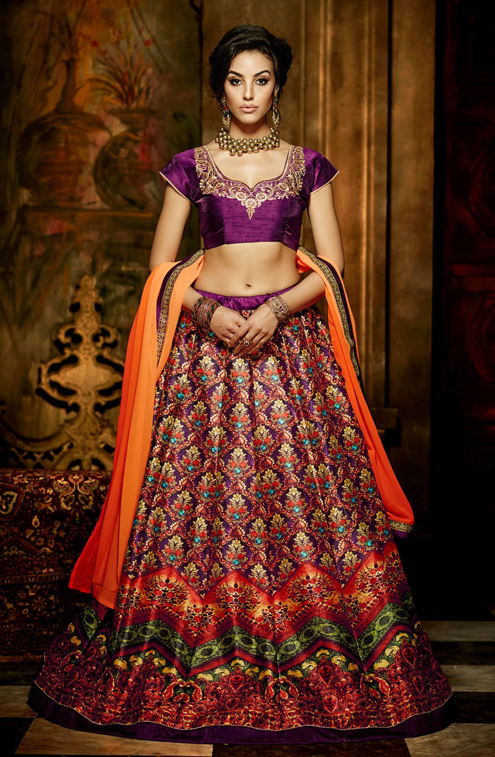 Buy Purple Printed Silk Unstitched Ghagra Choli Online