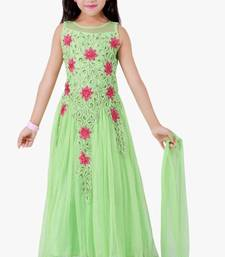 Buy green embroidered kids frocks11-14 years gifts-for-kid online
