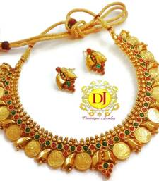 Buy Temple jewellery coin necklace set necklace-set online
