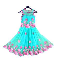 Buy Rema color net fabric ribbon flower embroidrery work frock kids-frock online
