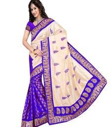 Buy Cream printed bhagalpuri silk saree with blouse below-500 online