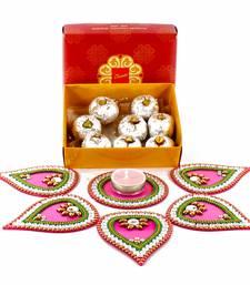 Buy Kaju sweet hamper with designer artificial rangoli diwali-gift online