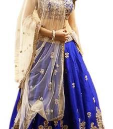 Buy Navy blue and cream art silk embroidery unstitched lehenga choli navratri-lehenga-chaniya-choli online