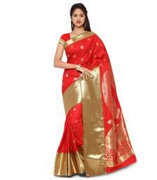 Buy Red woven art silk saree with blouse kanchipuram-silk-saree online