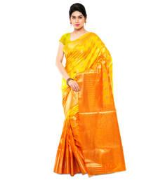 Buy Mustard woven art silk saree with blouse kanchipuram-silk-saree online