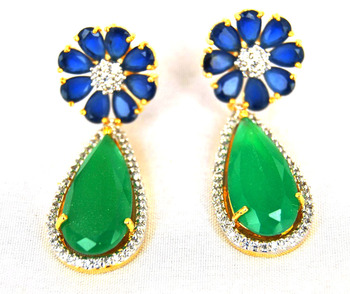 Floral Sapphire Emerald Earrings