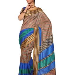 Buy Multicolor printed silk saree with blouse below-1500 online