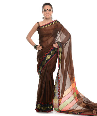 Wine woven super net saree with blouse