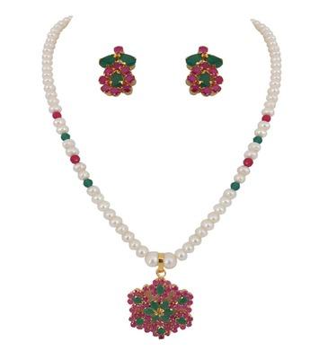 Beautiful Ruby Emerald Pendant Set