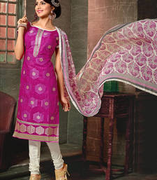 Buy Magenta embroidered chanderi salwar with dupatta salwars-and-churidar online