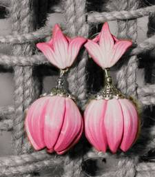 Buy Pink white polymer clay jhumkas terracotta-jewelry online