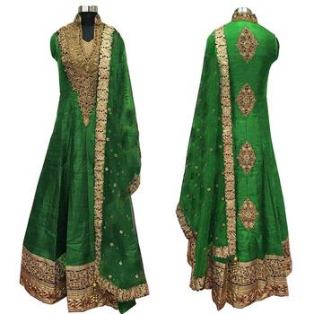 Green embroidered cotton silk semi stitched anarkali salwar suit with dupatta.