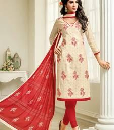 Buy Beige embroidered cotton silk salwar with dupatta ethnic-suit online
