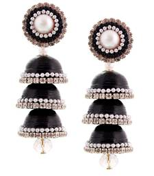 Buy Hancrafted Paper Quilling Black Triple Jhumka jhumka online