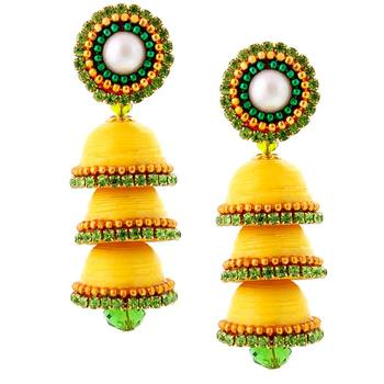 Hancrafted Paper Quilling Yellow Triple Jhumka