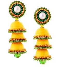 Buy Hancrafted Paper Quilling Yellow Triple Jhumka jhumka online