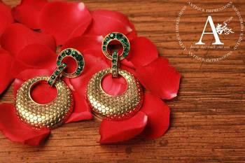 Green Carnelian Gemstone Round Earrings - Gemstone Dangle Earrings, Dull Gold Round Earrings