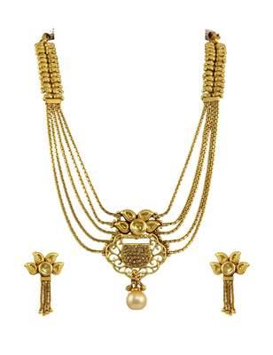 Golden Beige Polki Stones Necklace Set Jewellery for Women - Orniza