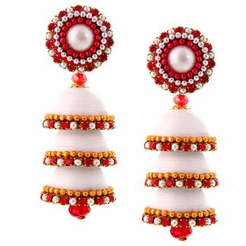 Handcrafted Paper Quilling White Triple Jhumki