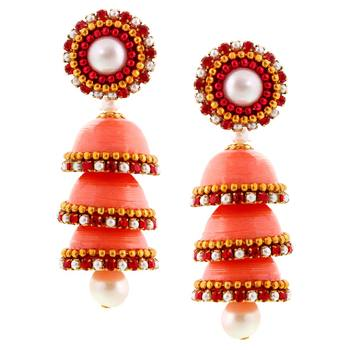 Hancrafted Paper Quilling Peach Triple Jhumka