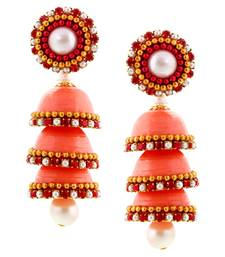 Buy Hancrafted Paper Quilling Peach Triple Jhumka jhumka online