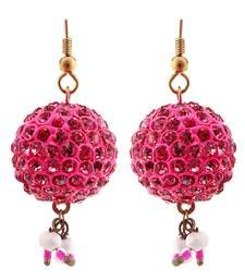 Buy Handmade Magenta Lakh Ball Jhumka Set hoop online