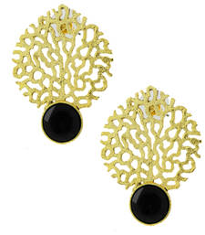 Buy Gold plated filigree with black stone earring stud online