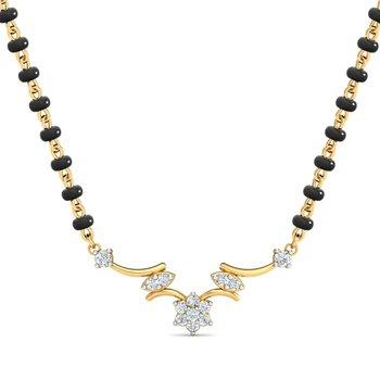 0.12ct diamond 18kt gold mangalsutra