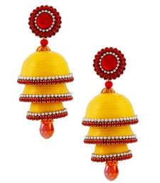 Buy Yellow teracotta and dokra jhumkas jhumka online