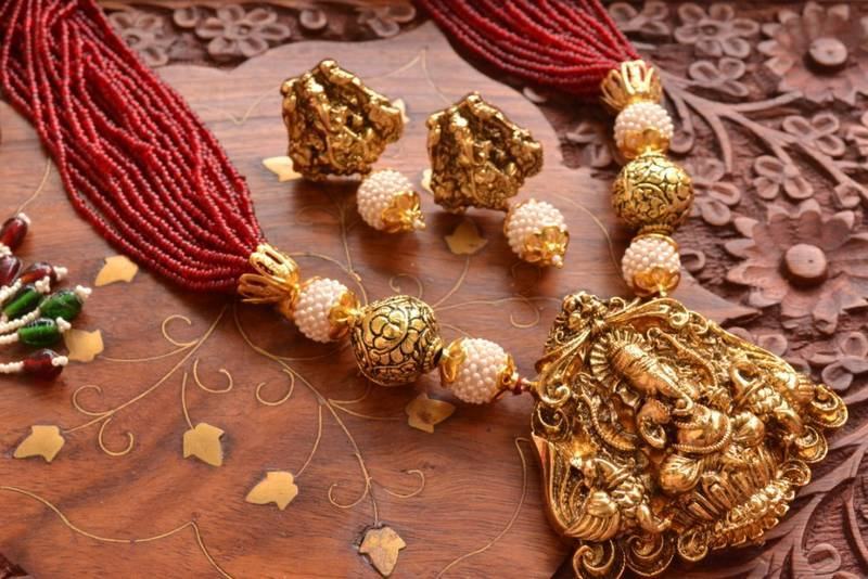 Buy temple jewellery with pearl semi precious stone grand gold temple jewellery with pearl semi precious stone grand gold plated necklace set aloadofball Choice Image