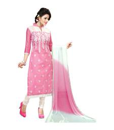 Buy Pink embroidered cotton semi stitched salwar with dupatta Woman online