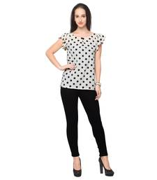 Buy White crepe printed stitched top top online