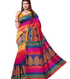 Buy multicolor printed bhagalpuri silk saree with blouse Woman online