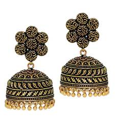 Buy Oxidised Gold Plating handmade Jhumka Earrings danglers-drop online