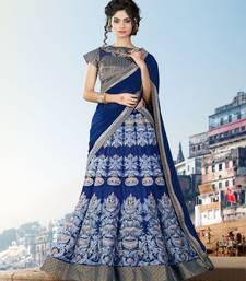 Buy Navy blue embroidered net unstitched lehenga ethnic-lehenga online
