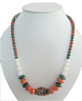 Color hurricane mosaic & jade beads necklace for women
