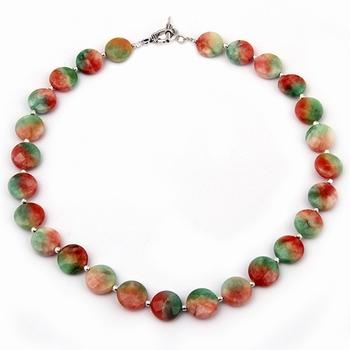 Candy tuft dyed quartzite gemstone beads necklace