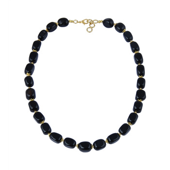 Good looking tumble shaped black agate gem stone beads necklac...