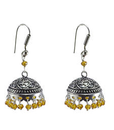 Buy Rajasthani Tribal Jewelry3 mm Citrine Crystal Hanging Jhumka Earrings jhumka online