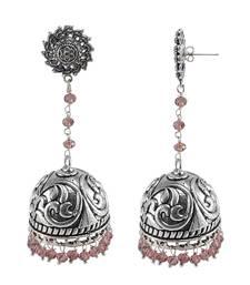 Buy Purple silver plated jhumkas jhumka online