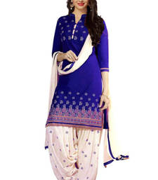 Buy Blue crepe printed unstitched salwar with dupatta punjabi-suit online