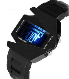 Buy Black colour latest rubber  strap led watch gifts-for-kid online
