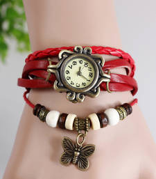 Buy Red colour latest leather strap anlong wrist watch fashion-deal online