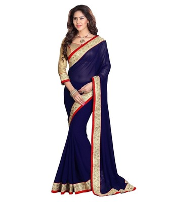 Blue hand woven georgette saree with blouse