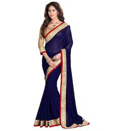 Buy Blue hand woven georgette saree with blouse georgette-saree online
