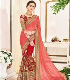 Buy Red embroidery geogrette saree with blouse bridal-saree online